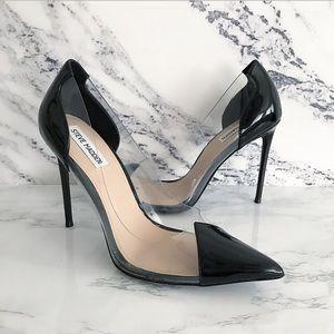 Steve Madden 8 MALIBU BLACK PATENT Heel Clear